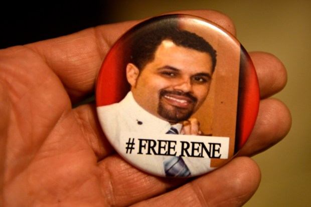 AURORA, CO - JUNE 06: A Free Rene Lima-Marin button his wife Jasmine wears daily. June 06, 2016 Aurora, CO. (Photo By Joe Amon/The Denver Post)