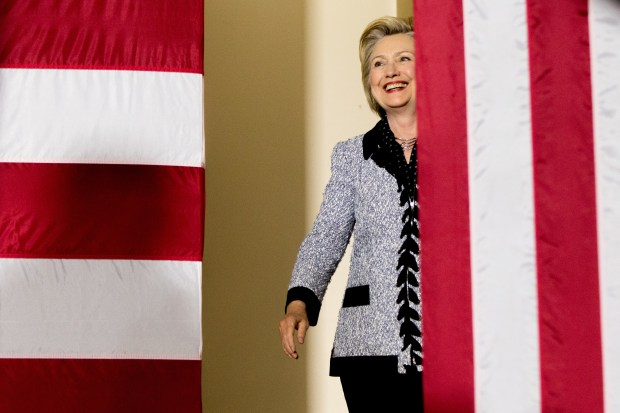 Democratic presidential candidate Hillary Clinton arrives to speak at a rally at the International Brotherhood of Electrical Workers Circuit Center in Pittsburgh, Tuesday, June 14, 2016.
