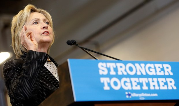 Democratic presidential candidate Hillary Clinton speaks about the economy, Tuesday, June 21, 2016, at Fort Hayes Vocational School in Columbus, Ohio.