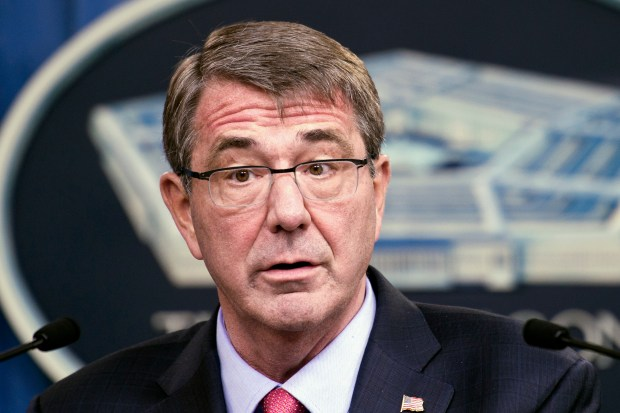 In this Jan. 28, 2016 file photo, Defense Secretary Ash Carter speaks during a news conference at the Pentagon, in Washington.