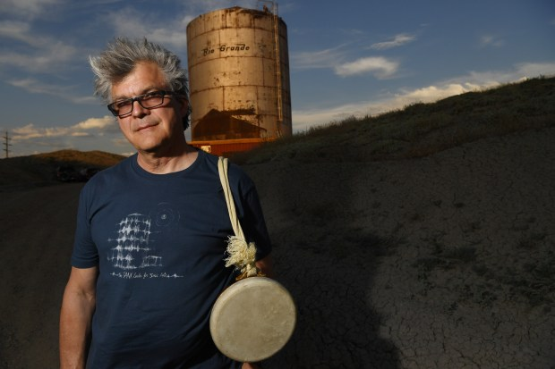 RANGELY, CO - JUNE 21: Bruce Odland, comes from New York to sing and play music in an old railroad storage tank in Rangely, June 21, 2016. A group of artist are working to refurbish the tank for acoustic recording and concerts. (Photo by RJ Sangosti/The Denver Post)