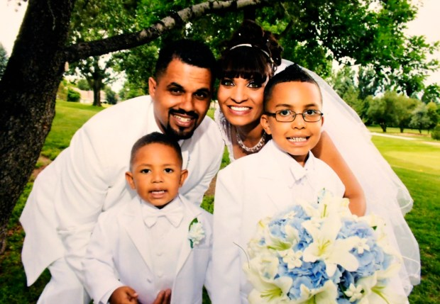 AURORA, CO - JUNE 06: Rene Lima-Marin and Jasmine Lima-Marin wedding photo with their son Josiah Lima-Marin and step-son Justus Marez. They were married 7-13-2013 ***HANDOUT PHOTO photo from the family*** June 06, 2016 Aurora, CO. (Photo By Joe Amon/The Denver Post)