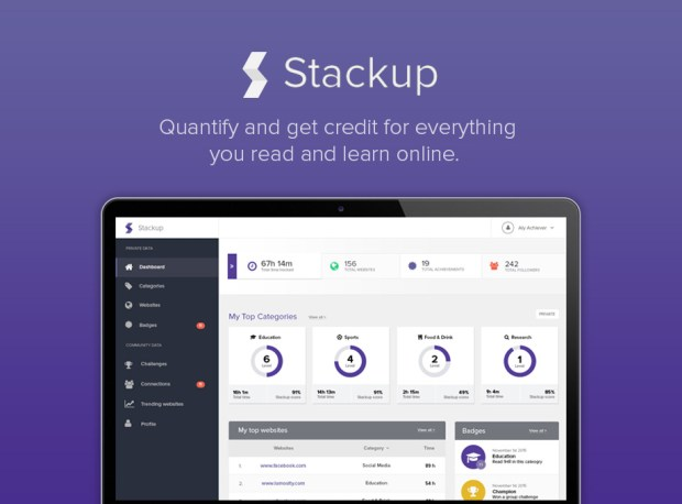 If you're trying to prove you do more on the Internet then watch cat videos, Stackup is for you. This new Google Chrome extension tracks web activity and categories it into 60 subject areas. Show a future boss the results or compete with friends. Yes, you can turn learning into a game!