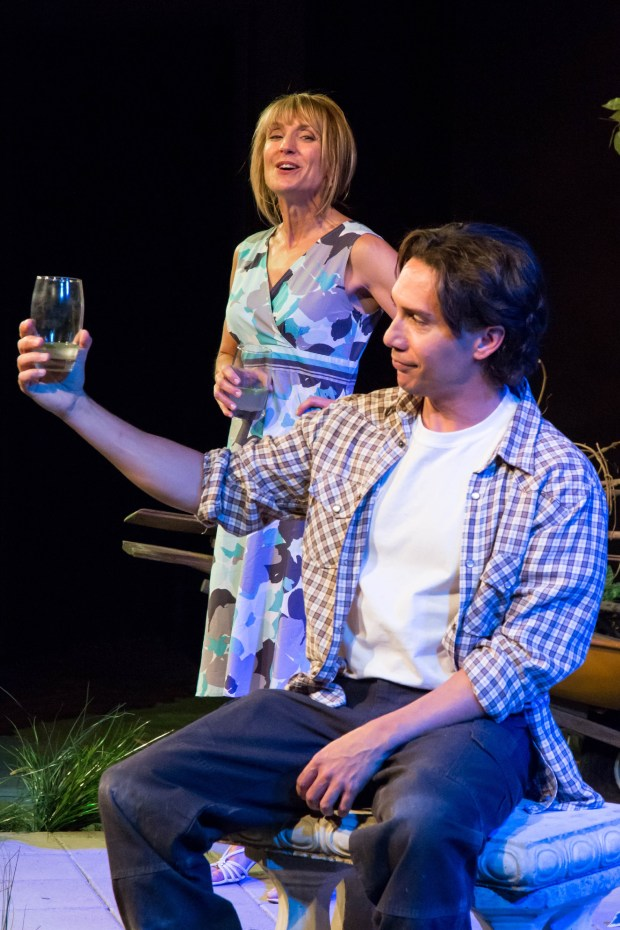 """Patty Ionoff and Kent Randell in """"By the Waters of Babylon"""" at The Edge Theater. Photo by RDGPhotography."""