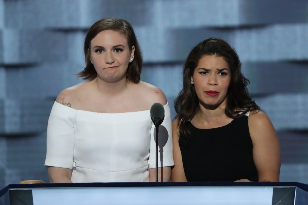 Actresses America Fererra, right, and Lena Dunham deliver remarks on the second day of the Democratic National Convention at the Wells Fargo Center on July 26, 2016 in Philadelphia.