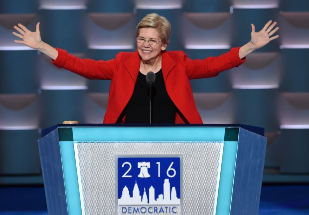 U.S. Senator Elizabeth Warren speaks during Day 1 of the Democratic National Convention at the Wells Fargo Center in Philadelphia on July 25, 2016.
