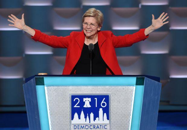 U.S. Senator Elizabeth Warren speaks during Day 1 of the Democratic National Convention at the Wells Fargo Center in Philadelphia on July 25, 2016.