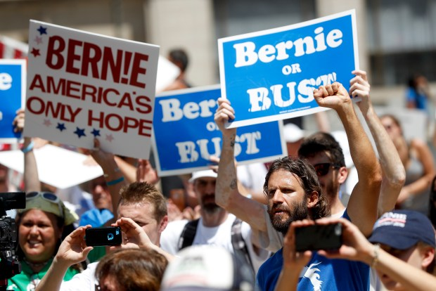 Supporters of Bernie Sanders attend a rally in Philadelphia on Tuesday.