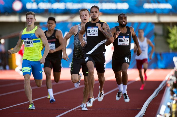 Boris Berian races during the first round of the 800 meters during Day 1 of the Olympic Track and Field Trials on July 1, 2016, in Eugene, Ore.