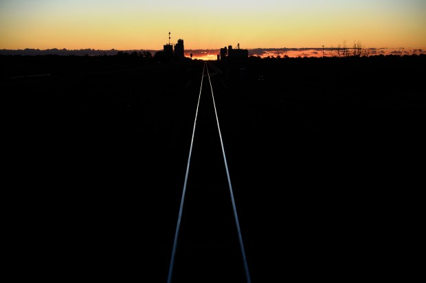 GARDEN CITY, KS. - NOVEMBER 05: The sun rises after the Southwest Chief leaves on it's way to La Junta, CO November 05, 2015 Garden City, KS