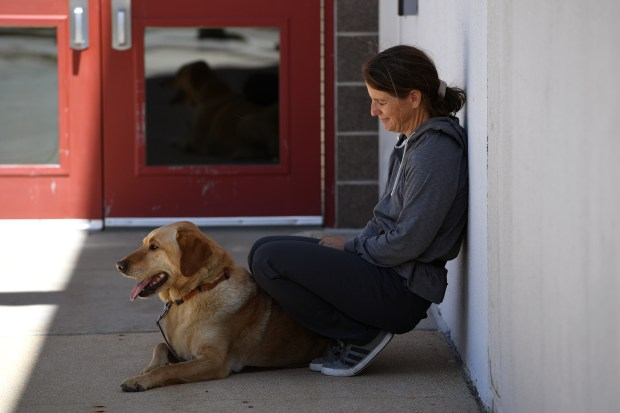 NEDERLAND, CO - JULY 11: Nederland firefighter and resident Bretyln Schmidtmann holds her dog Clyde after a community briefing at the Nederland High School on July 11, 2016 in Nederland, Colorado. Bretlyn and her husband Charlie lost their home and possibly their second dog Geno in the Cold Springs Fire. Clyde somehow escaped the house and survived before the house burned to the ground. Charlie found the dog walking in the woods.(Photo by Helen H. Richardson/The Denver Post)