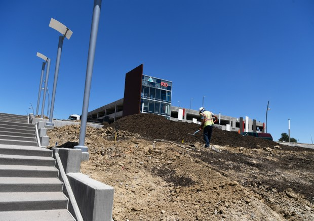 WESTMINSTER, CO - July 13: RTD's Westminster Station under construction, which will run the B Line commuter rail line Westminster to Union Station July 13, 2016. The official opening of the 6.2 mile line is scheduled for July 25, 2016, which will connect riders to the new University of Colorado A Line, several light rail connections and local and regional buses. (Photo by Andy Cross/The Denver Post)