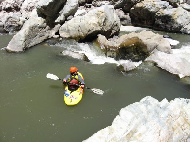 Steamboat Springs author and kayaker scouts a cascade in the first-ever exploration of the Condor del Cruz section of Peru's Colca Canyon, the deepest gorge in the world. Photo Special to The Denver Post by Grzegorz Gaj Grzesiek