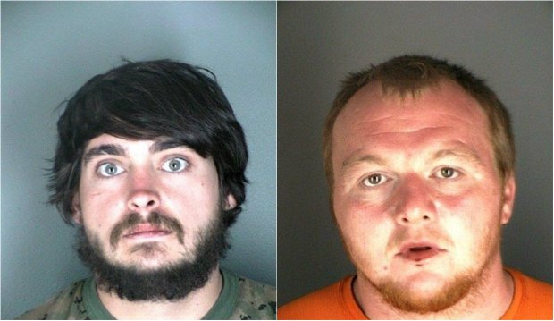 From left, Zackary Ryan Kuykendall, 26, of Vinemont, Ala.; and Jimmy Andrew Suggs, 28, of Vinemont, Ala. The men have been arrested in connection with starting the Cold Springs fire. (Boulder County Sheriff)