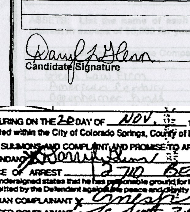 Top: Darryl Glenn's signature on paperwork filed for his Senate run this year. Below: The signature on a 1983 police report involving Darryl Glenn. A handwriting analyst