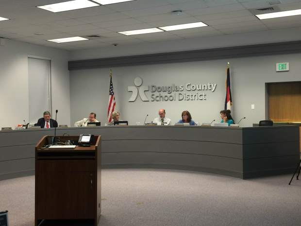 Douglas County school board members discuss the 2016 investigative report that found board members Meghann Silverthorn (not pictured) and Judith Reynolds did not violate school or district policy for privately meeting with 15-year-old Grace Davis, Ponderosa High School. From left to right: James Geddes, Doug Benevento, Judith Reynolds, David Ray, Anne-Marie Lemieux and Wendy Vogel.