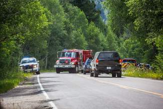 The Aspen Volunteer Fire Department responds to a small wildland fire sparked by an illegal campfire near the winter closure gate on Highway 82 east of Aspen Saturday.
