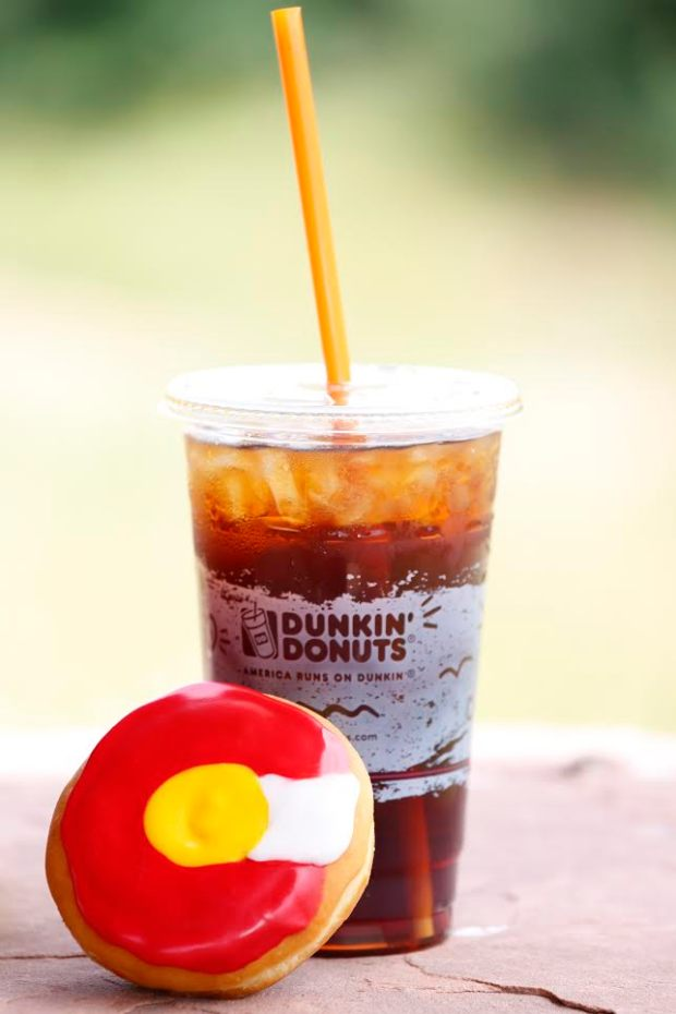 Photo of the Colorado-flag doughnut and a Dunkin' Donuts coffee.