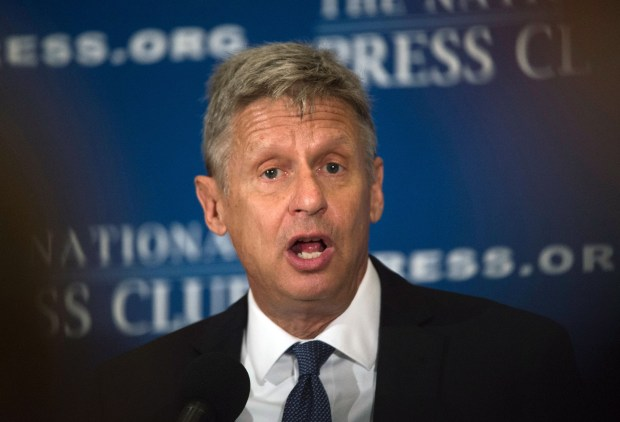 Libertarian Party presidential candidate Gary Johnson speaks at a National Press Club luncheon in Washington, D.C., on July 7.