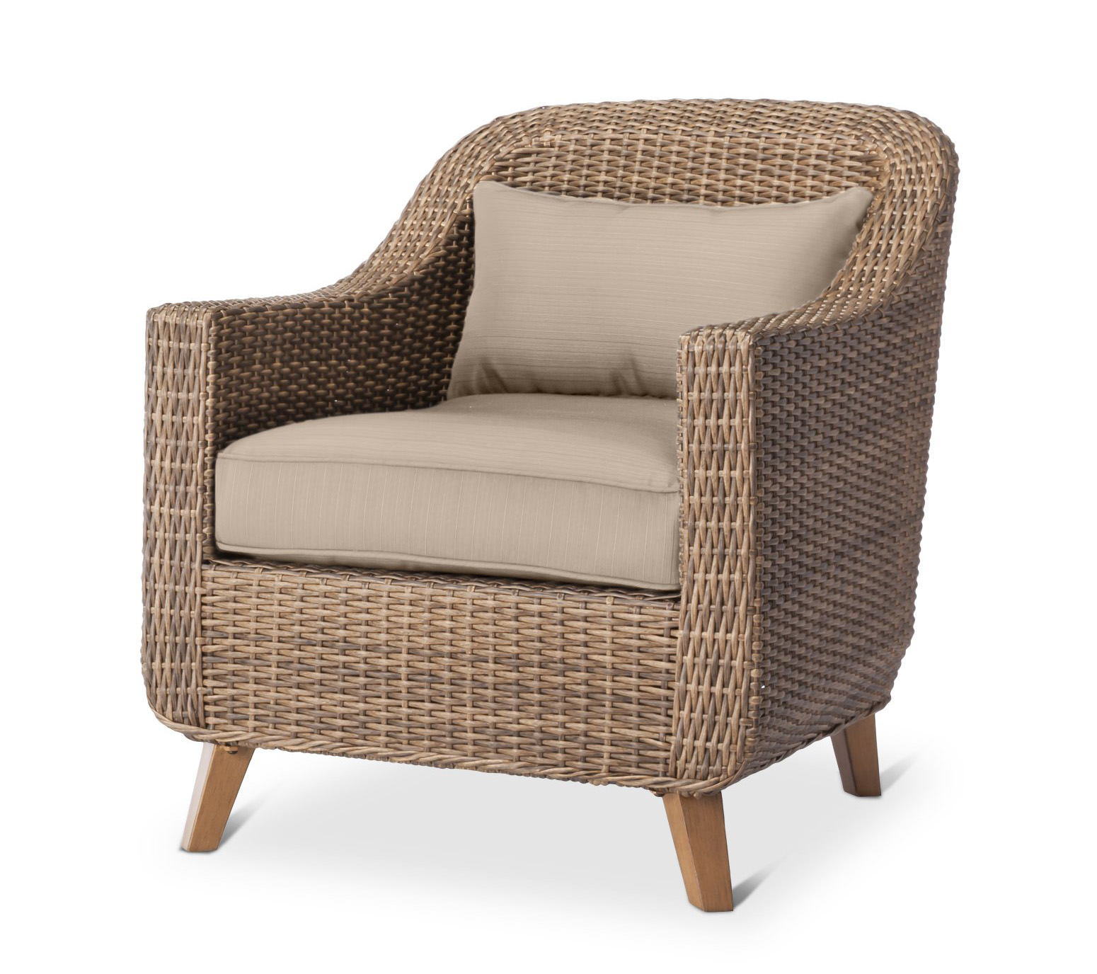 The Mayhew All Weather Wicker Patio Club Chair Comes With Cushions In  Seafoam, Tan,