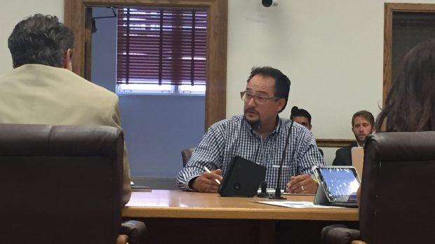Rafael Espinoza at council committee