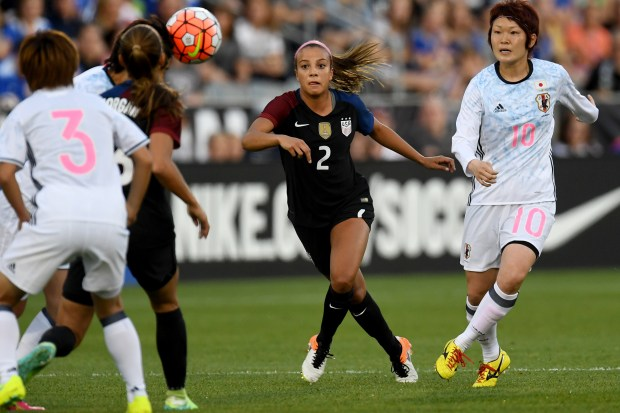 COMMERCE CITY, CO - JUNE 02: Mallory Pugh (2) of U.S. Women's National Team watches the ball as Mizuho Sakaguchi (10) of Japan defends during the first half of action of their 3-3 tie. The U.S. Women's National team played Japan in an international friendly on Thursday, June 2, 2016. (Photo by AAron Ontiveroz/The Denver Post)