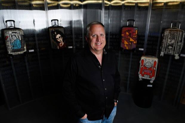 Mike Edwards, CEO of eBags, is pictured with some of the company's bags at their headquarters on July 20, 2016 in Greenwood Village, Colorado.