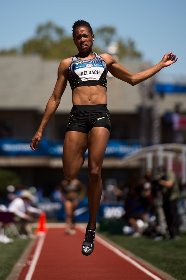 Janay DeLoach jumps at the 2016 U.S. Olympic Trials