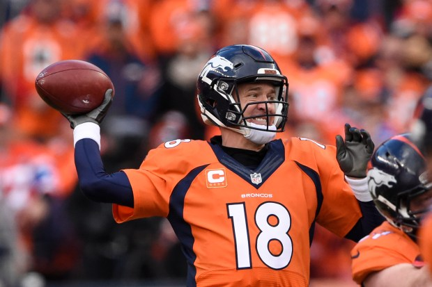 Peyton Manning (18) of the Denver ...