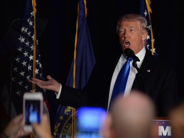 MANCHESTER, NH - AUGUST 25: Republican presidential nominee Donald Trump speaks at a rally at the Radisson Hotel August 25, 2016 in Manchester, New Hampshire. Speaking from a teleprompter at the rally, Trump cast the November presidential election as a battle between the people and the special interests. (Photo by Darren McCollester/Getty Images)