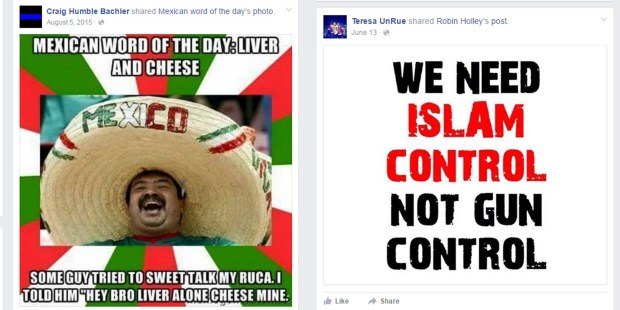 This combo shows two examples of some of the social media postings by Trump campaign staff members discovered by the Associated Press in an online search. Trump's paid campaign staffers have declared on their personal social media accounts that Muslims are unfit to be U.S. citizens, mocked how Mexicans talk, called for Secretary of State John Kerry to be hanged and stated their readiness for a possible civil war, according to a review by The Associated Press of their postings.