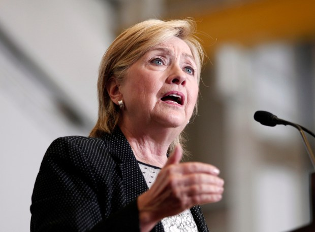 Democratic presidential nominee Hillary Clinton delivers a speech in Warren, Mich., on Aug. 12.