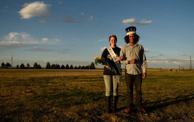 Seniors Maggie Corder and J.D. Pessoa, a foreign exchange student from Brazil, were named homecoming king and queen, September 15, 2015.