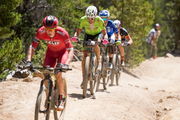 Alex Howes races up Powerline during the Leadville 100