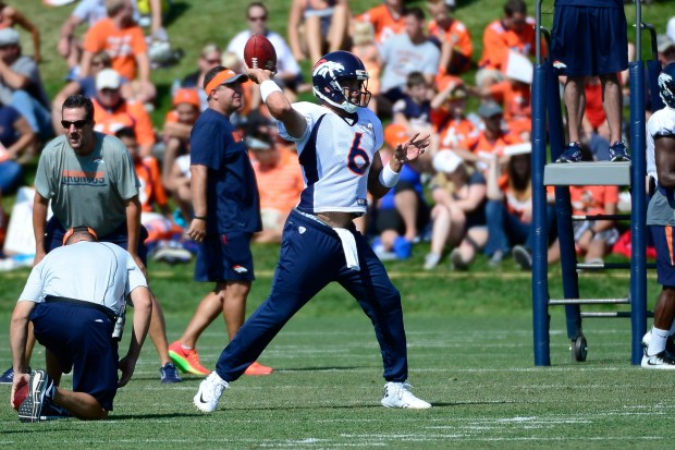 ENGLEWOOD, CO - AUGUST 03: Denver Broncos quarterback Mark Sanchez throws a pass during a drill at training camp in Dove Valley on August, 3, 2016. (Photo by Michael Reaves/The Denver Post)