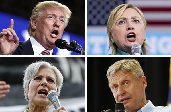 Presidential candidates Donald Trump (Republican), Hillary Clinton (Democrat), Jill Stein (Green) and Gary Johnson (Libertarian).