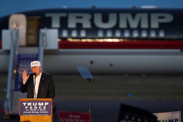 Republican presidential nominee Donald Trump speaks last Saturday in Colorado Springs.