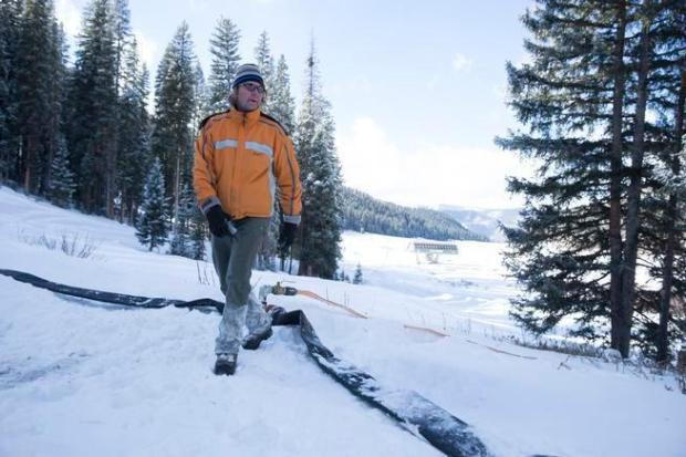 James Coleman helps lay out a new snowmaking system at his Purgatory ski area in December 2015. Photo Special to The Denver Post by Scott DW Smith.