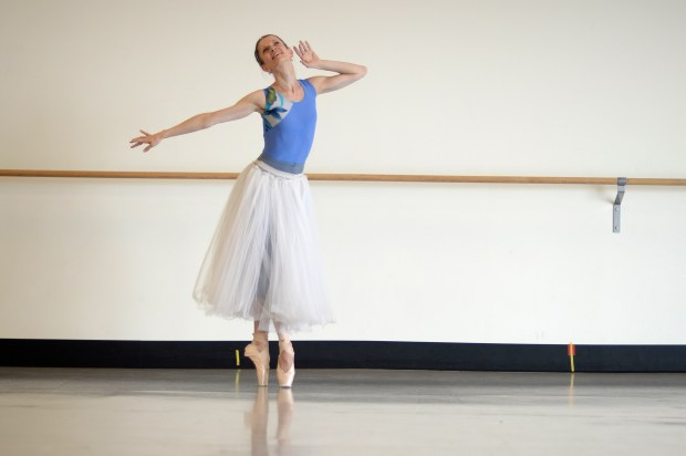 """Maria Mosina performs during rehearsal for """"La Sylphie"""" on Tuesday, September 22, 2015."""