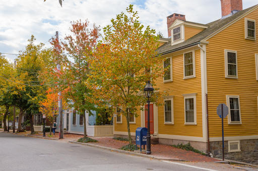 Historic Benefit Street in Providence, R.I., where elms and other trees provide a canopy of color in the fall. The mile-long street runs past a collection of Colonial, Federal and Greek Revival-style homes, and several historic churches.