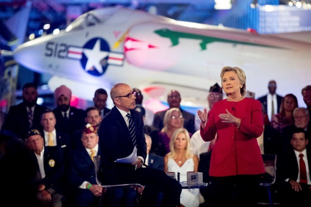 Democratic presidential candidate Hillary Clinton, with 'Today' show co-anchor Matt Lauer, left, speaks at the NBC Commander-In-Chief Forum held at the Intrepid Sea, Air and Space museum aboard the decommissioned aircraft carrier Intrepid, New York, Wednesday, Sept. 7, 2016.