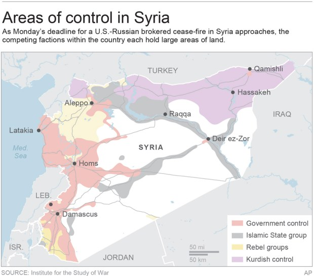 Map shows areas of control in Syria