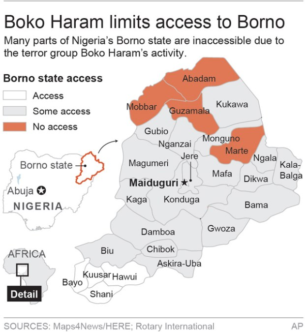 Map shows areas of Nigeria's Borno state inaccessible