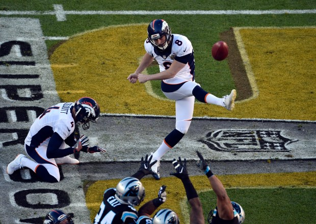 Brandon McManus (8) of the Denver Broncos kicks a field goal in the first quarter scoring the Broncos first 3 points. The Denver Broncos played the Carolina Panthers in Super Bowl 50 at Levi's Stadium in Santa Clara, Calif. on February 7, 2016. Helen H. Richardson, The Denver Post