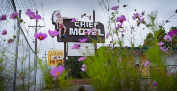 Neon sign from the Chief Motel along South Nevada Avenue in Colorado Springs is for sale because the hotels it advertised will be torn down to make way for new commercial development. Money from their sale will be donated to the Springs Rescue Mission, developer Walt Harder told The Gazette.