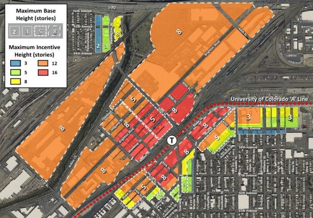 A map of the area surrounding the 38th and Blake transit station shows suggested base building heights (marked by numbers) and incentive heights (shaded by color) if developers incorporate affordable housing or, if it's a commercial project, pay extra impact fees into a city housing fund.