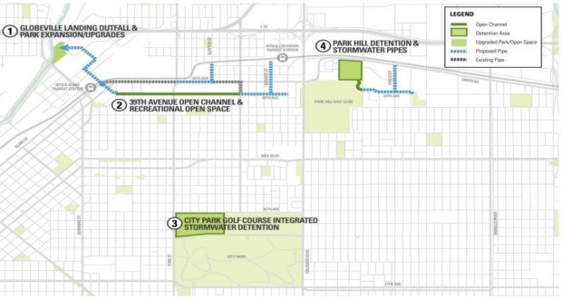 A map produced by Denver Public Works shows the major components of the Platte to Park Hill drainage projects.