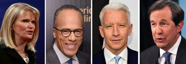 2016 presidential debate moderators Martha Raddatz, Lester Holt, Anderson Cooper and Chris Wallace.