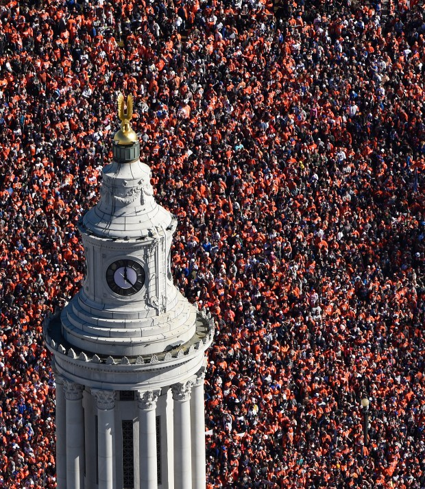 Fans gather at Civic Center Park in downtown Denver during a parade to celebrate the Denver Broncos winning Super Bowl 50 on February 9.