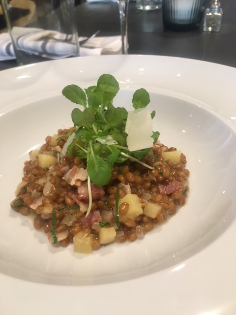 Wheatberry Risotto with Apples and Bacon.